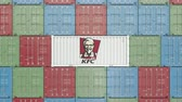 調達 : Container with KFC corporate logo. Editorial 3D animation