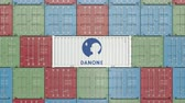 comerciante : Container with Danone corporate logo. Editorial 3D animation
