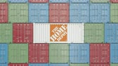 comerciante : Container with the Home Depot corporate logo. Editorial 3D animation Archivo de Video