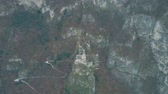 zamek : Aerial shot of ruined historic Haderburg Castle in Salorno, Italy Wideo