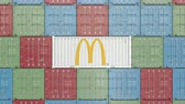 mcdonalds : Container with McDonalds corporate logo. Editorial 3D animation