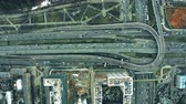 road top view : Aerial top down view of major city roads and interchange Stock Footage