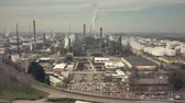 smoke stack : Aerial hyperlapse of a big chemical plant Stock Footage