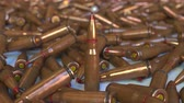 ordu : Many rifle cartridges. Realistic 3D animation Stok Video