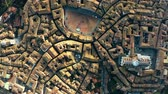 toskana : Aerial top-down view of Siena involving Piazza del Campo or Campo Square, a place of famous horse-race, Palio di Siena. Italy Stock Footage