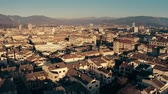rooftop : Low altitude aerial shot of cityscape of Terni and surrounding mountains. Umbria, Italy