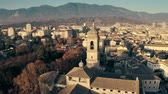 umbrie : Terni Cathedral and the cityscape in the evening, aerial view. Italy