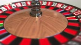 olasılık : Casino roulette wheel ball hits 0 zero. 3D animation Stok Video