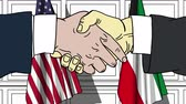 diplomat : Businessmen or politicians shake hands against flags of USA and Kuwait. Official meeting or cooperation related cartoon animation Stock Footage