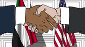 отношения : Businessmen or politicians shake hands against flags of Sudan and USA. Official meeting or cooperation related cartoon animation Стоковые видеозаписи