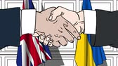 Businessmen or politicians shake hands against flags of United Kingdom and Ukraine. Official meeting or cooperation related cartoon animation