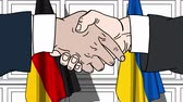 desenhada à mão : Businessmen or politicians shake hands against flags of Germany and Ukraine. Official meeting or cooperation related cartoon animation