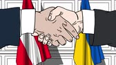 Businessmen or politicians shake hands against flags of Austria and Ukraine. Official meeting or cooperation related cartoon animation