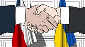 diplomat : Businessmen or politicians shake hands against flags of Czech Republic and Ukraine. Official meeting or cooperation related cartoon animation