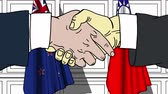 contrato : Businessmen or politicians shake hands against flags of New Zealand and Taiwan. Official meeting or cooperation related cartoon animation