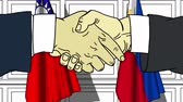 Businessmen or politicians shake hands against flags of Taiwan and Philippines. Official meeting or cooperation related cartoon animation