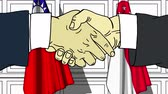 Businessmen or politicians shake hands against flags of Taiwan and Singapore. Official meeting or cooperation related cartoon animation