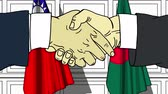Businessmen or politicians shake hands against flags of Taiwan and Bangladesh. Official meeting or cooperation related cartoon animation