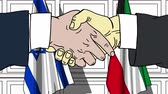 Businessmen or politicians shake hands against flags of Israel and Kuwait. Official meeting or cooperation related cartoon animation