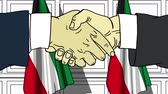 eleição : Businessmen or politicians shaking hands against flags of Kuwait. Meeting or cooperation related cartoon animation