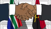 Businessmen or politicians shake hands against flags of South Africa and Angola. Official meeting or cooperation related cartoon animation
