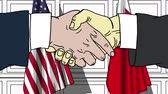 Businessmen or politicians shake hands against flags of USA and Bahrain. Official meeting or cooperation related cartoon animation Stok Video