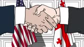 diplomat : Businessmen or politicians shake hands against flags of USA and Georgia. Official meeting or cooperation related cartoon animation