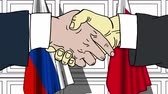 Businessmen or politicians shake hands against flags of Russia and Bahrain. Official meeting or cooperation related cartoon animation