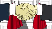 kontrakt : Businessmen or politicians shaking hands against flags of Bahrain. Meeting or cooperation related cartoon animation