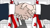 ジョージアン : Businessmen or politicians shaking hands against flags of Georgia. Meeting or cooperation related cartoon animation