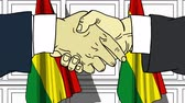 Businessmen or politicians shaking hands against flags of Bolivia. Meeting or cooperation related cartoon animation
