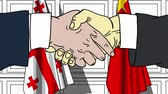 Businessmen or politicians shake hands against flags of Georgia and China. Official meeting or cooperation related cartoon animation