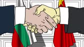 siyaset : Businessmen or politicians shake hands against flags of Bulgaria and China. Official meeting or cooperation related cartoon animation Stok Video