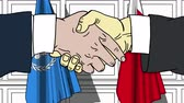 bahrein : Businessmen or politicians shake hands against flags of United Nations and Bahrain. Official meeting or cooperation related editorial animation