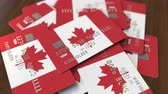 cardholder : Pile of credit cards with flag of Canada. Canadian banking system conceptual 3D animation