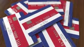 cardholder : Pile of credit cards with flag of Costa Rica. Banking system conceptual 3D animation