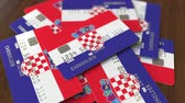 hırvat : Pile of credit cards with flag of Croatia. Croatian banking system conceptual 3D animation
