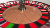 olasılık : Casino roulette wheel ball hits 28 twenty-eight black. 3D animation Stok Video