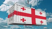 クレーン : Cargo container with flag of Georgia. Georgian import or export related conceptual 3D animation