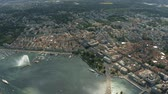 overview : Aerial view of Geneva and the lake involving famous large fountain, Switzerland Stock Footage