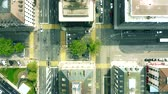 rooftop : Aerial top down view of streets and buildings in Geneva, Switzerland Stock Footage