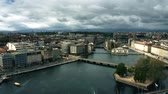overview : GENEVA, SWITZERLAND - APRIL 27, 2019. Aerial shot of Geneva and the Rhone river Stock Footage
