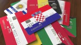croata : Many credit cards with different flags, emphasized bank card with flag of Croatia