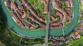 sloping : Aerial top down view of the Old City of Bern, Switzerland Stock Footage