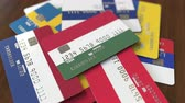 wegry : Many credit cards with different flags, emphasized bank card with flag of Hungary