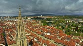 point of interest : Aerial view of famous Bern Minster or Cathedral in Old City of Bern, Switzerland