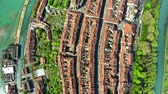 sloping : High altitude aerial top down view of Bern, Switzerland