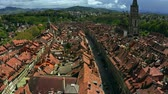point of interest : Flight over Old City street in Bern, Switzerland Stock Footage