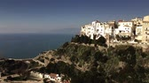 vela : Aerial view of Sperlonga beachfront and ancient Torre Truglia tower. Italy Stock Footage