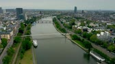 riverbank : Aerial view of the River Main within Frankfurt am Main limits, Germany Stock Footage